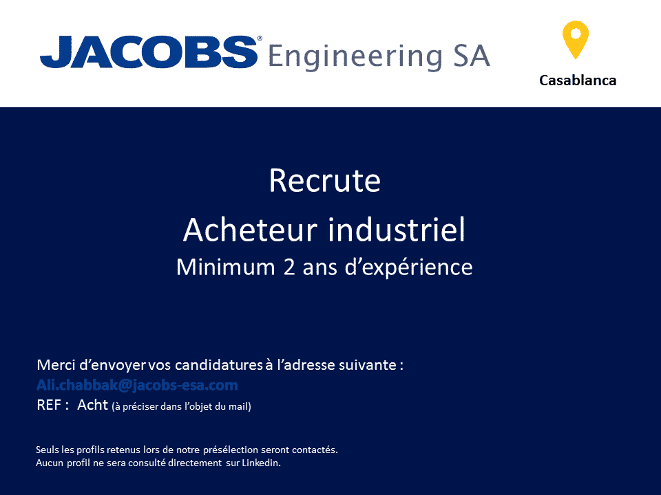 jacobs engineering recrute 3 profils  casablanca