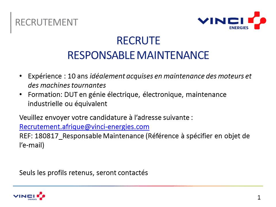 Vinci Maroc recrute un Responsable Maintenance (Casablanca) - توظيف منصب