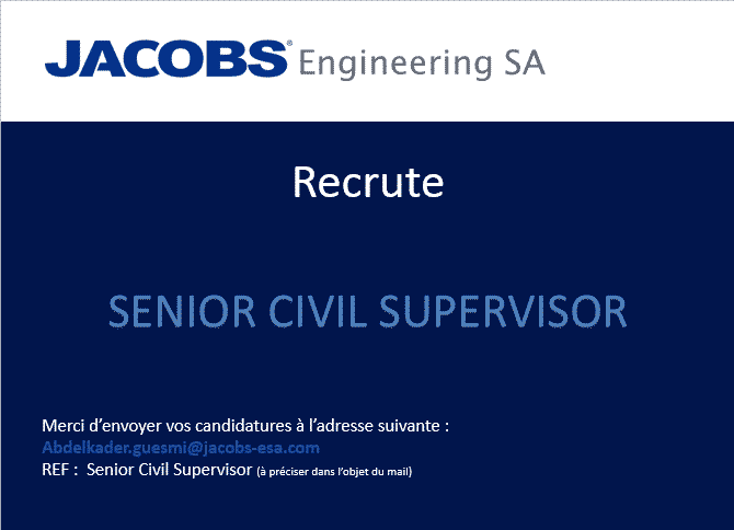 jacobs engineering recrute un mechanical superintendent et un senior civil supervisor