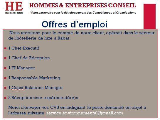 Recrutement Hotellerie Rabat - Dreamjob.ma