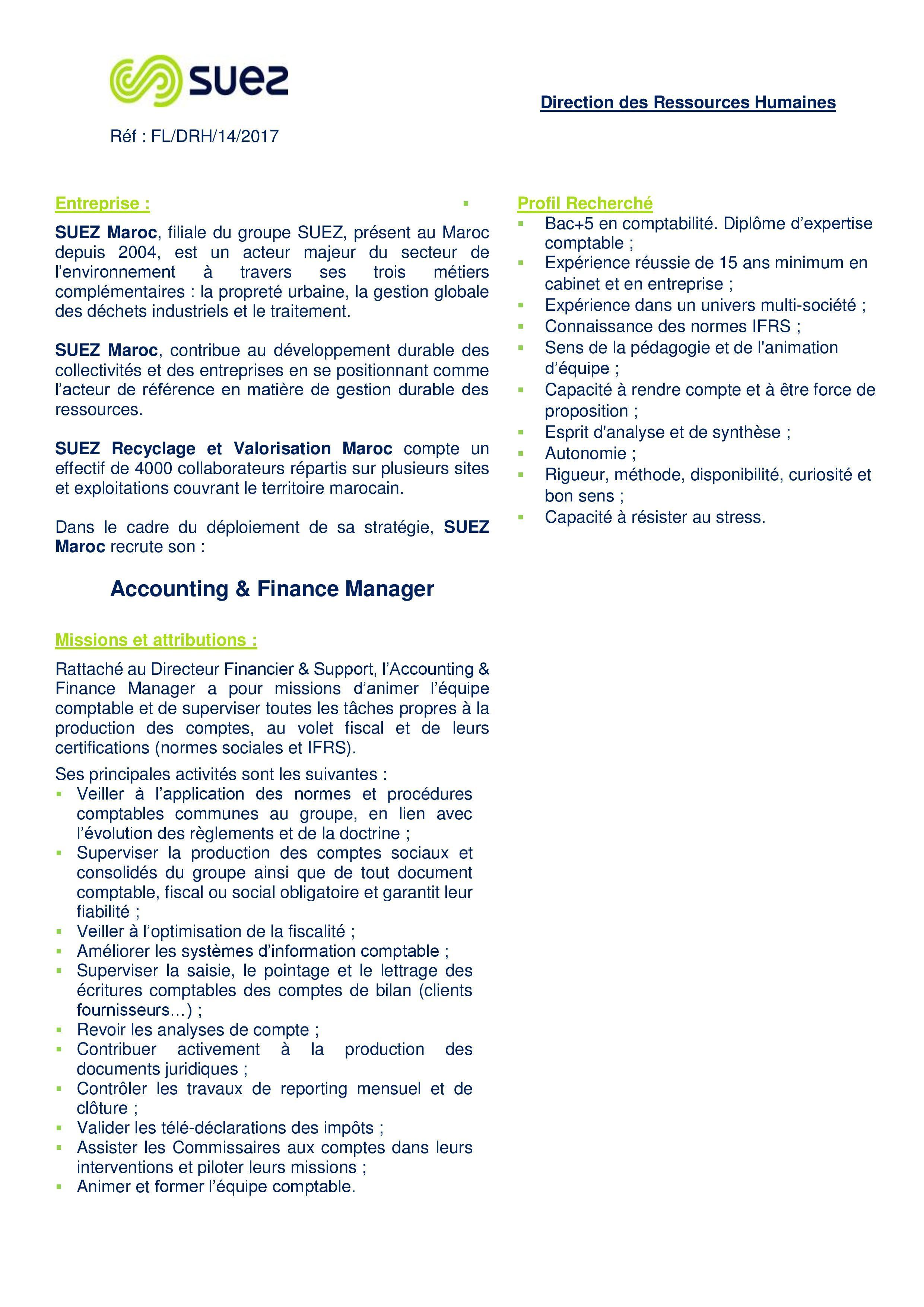 Comptable Suez - Dreamjob.ma