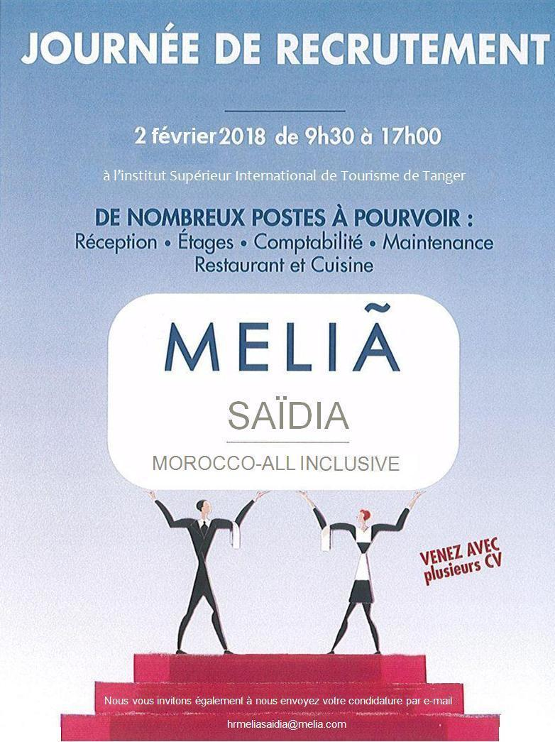 Melia Hotels Saadia Journée de Recrutement - Dreamjob.ma
