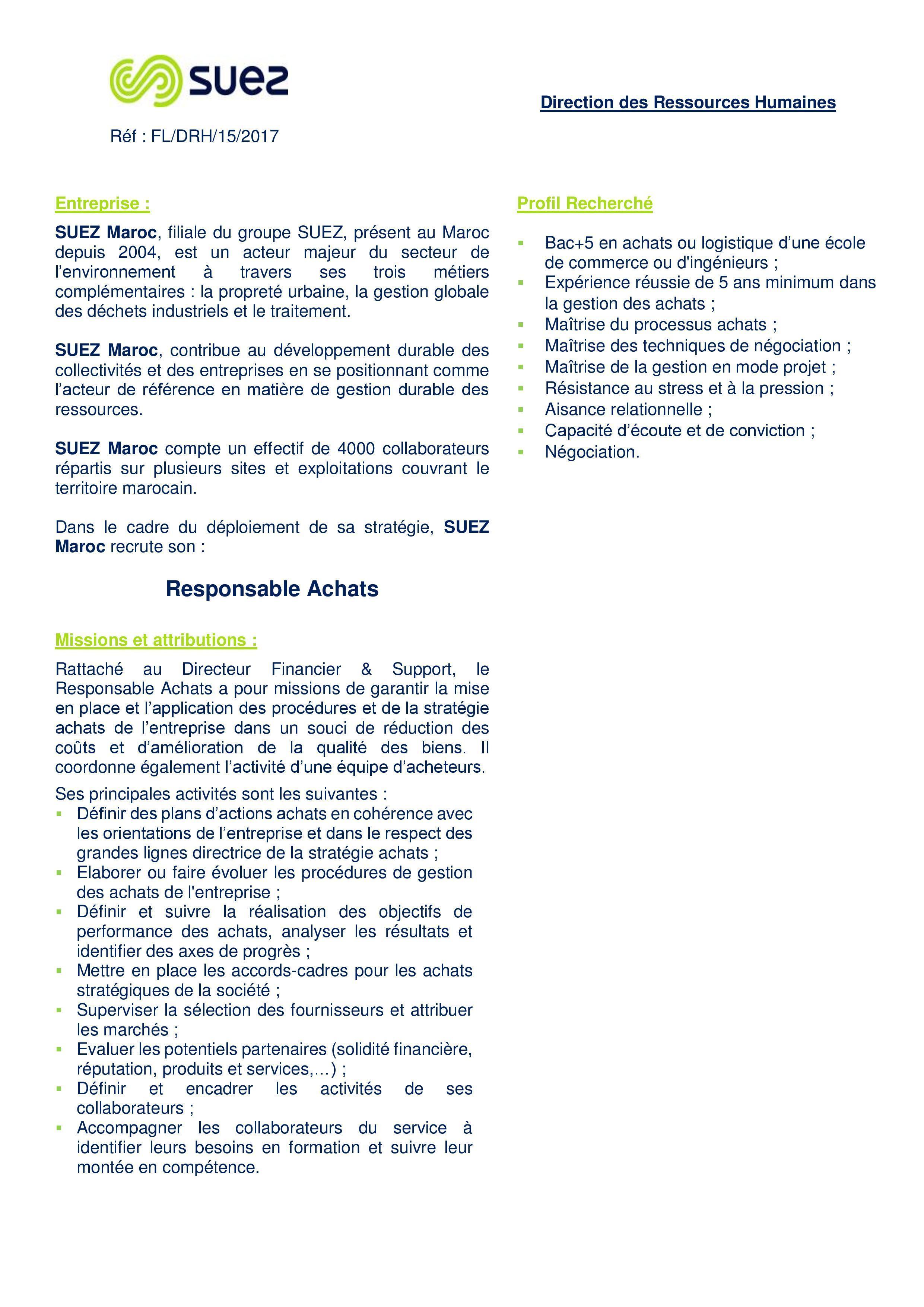 Responsable Achat Suez - Dreamjob.ma