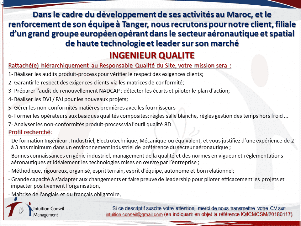Ingénieur Qualité - Dreamjob.ma