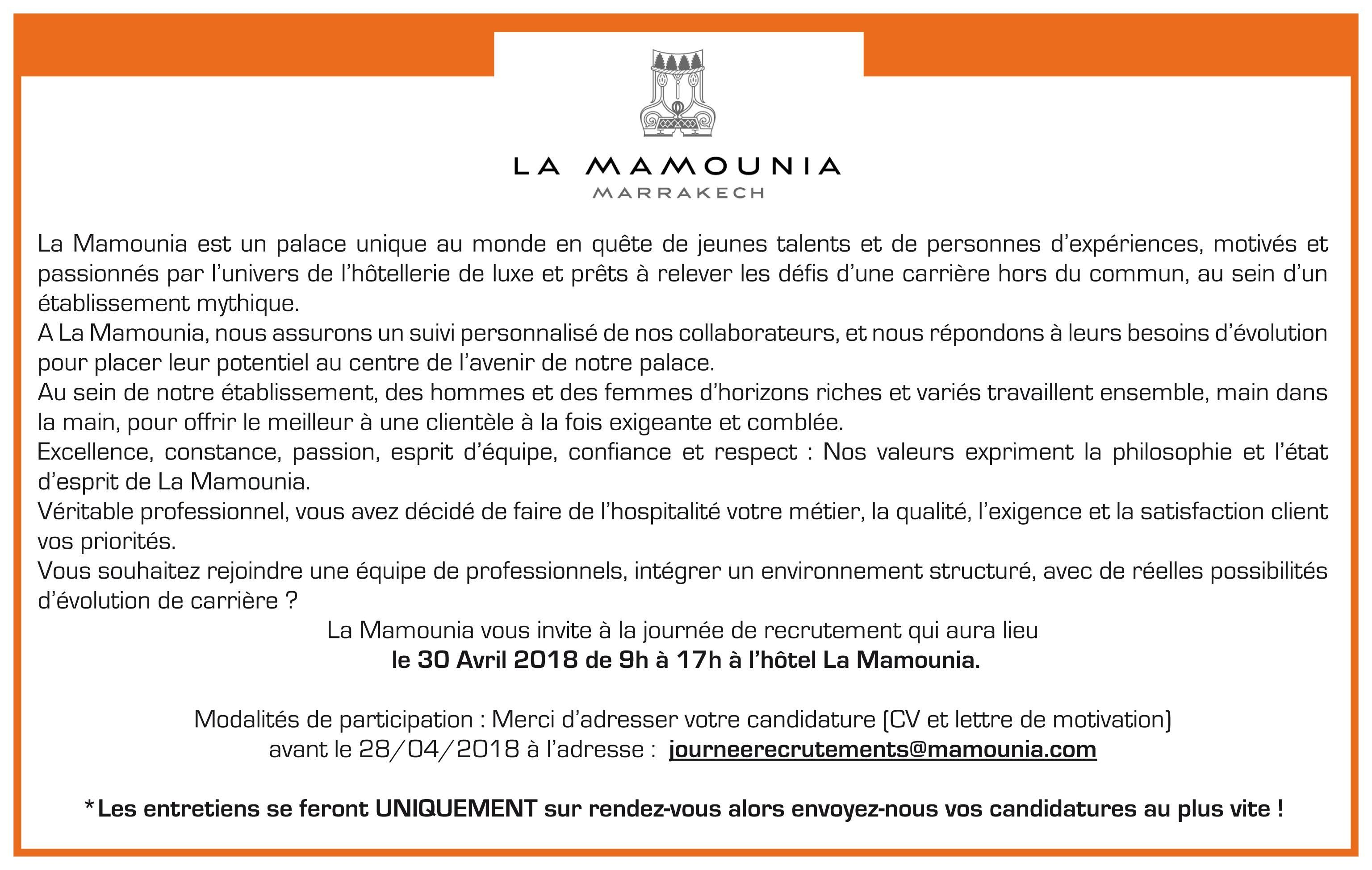 journ u00e9e de recrutement la mamounia marrakech 30 avril 2018