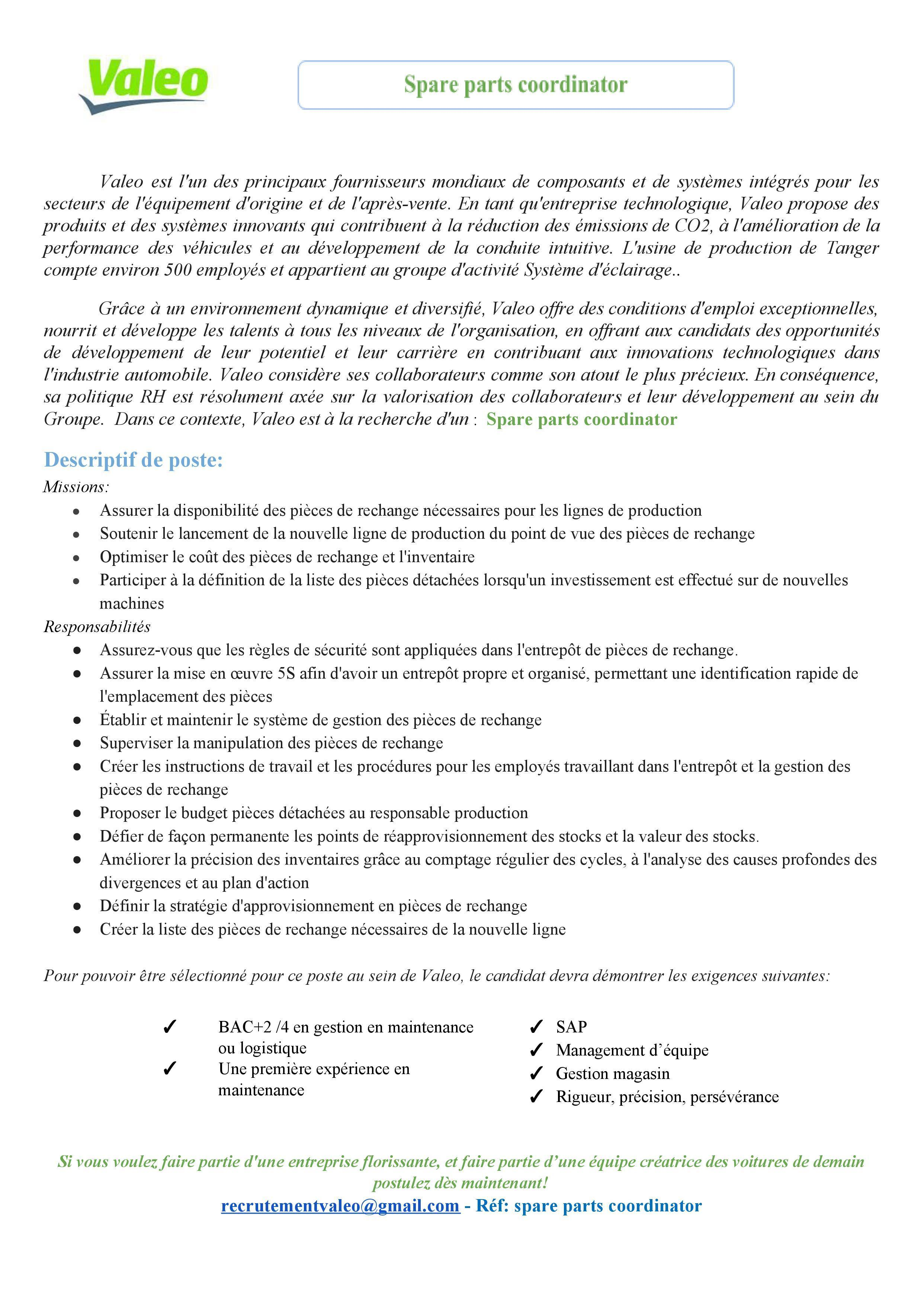 Valeo recrute 9 Profils (Tanger)