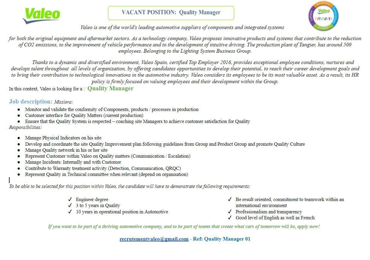 Valeo recrute 4 Profils (Tanger)