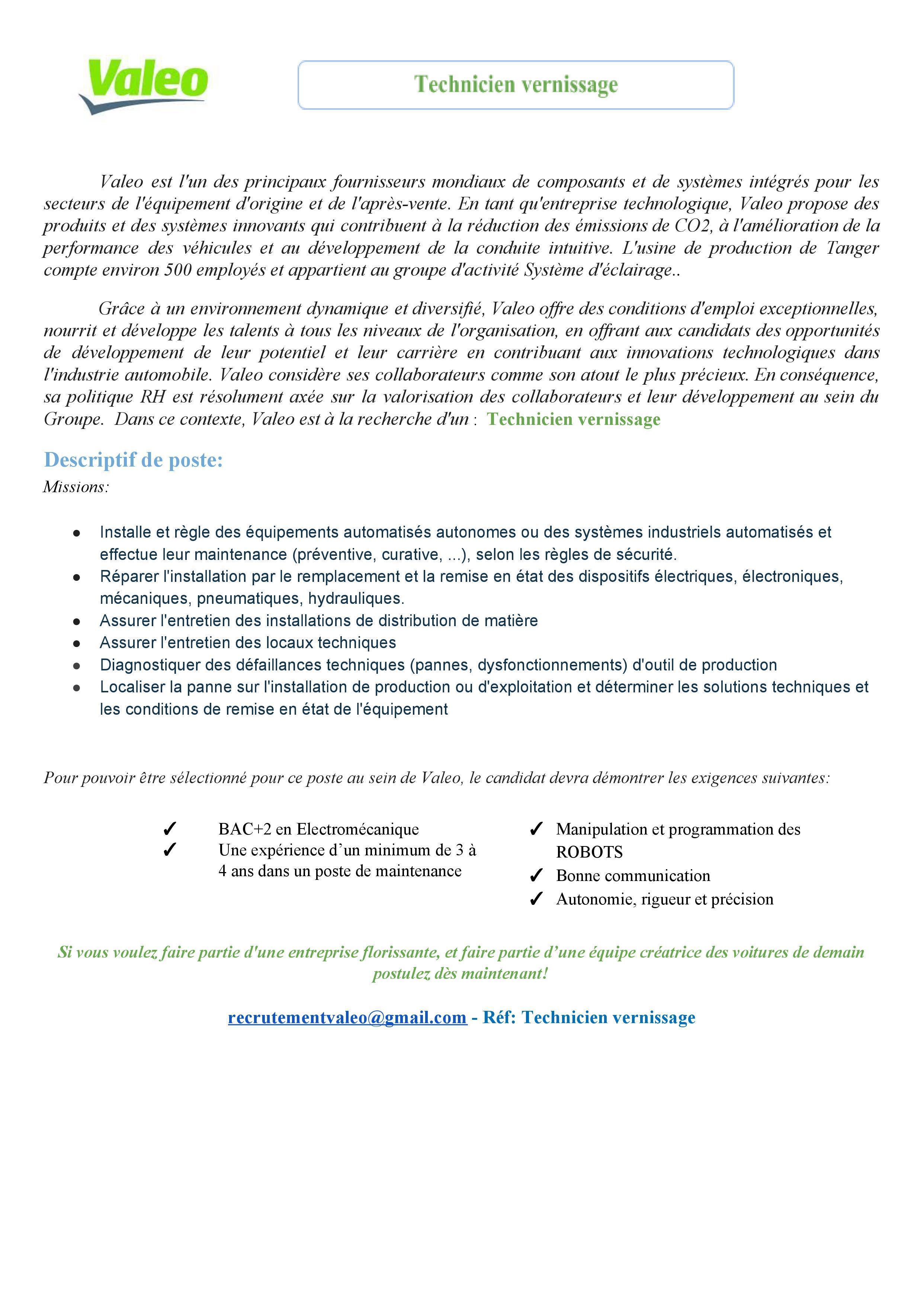 Valeo recrute 3 Profils (Tanger)