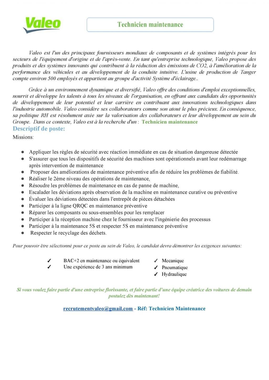 Valeo recrute 6 Profils (Ingénieurs - Techniciens - Superviseurs - Contrôleurs de Gestion)