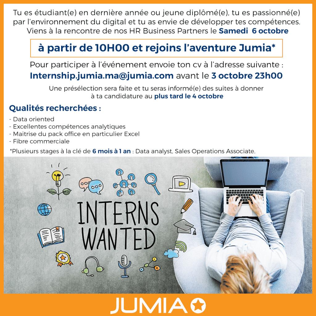 Jumia organise une Journée de Recrutement pour Stagiaires le 6 Octobre 2018