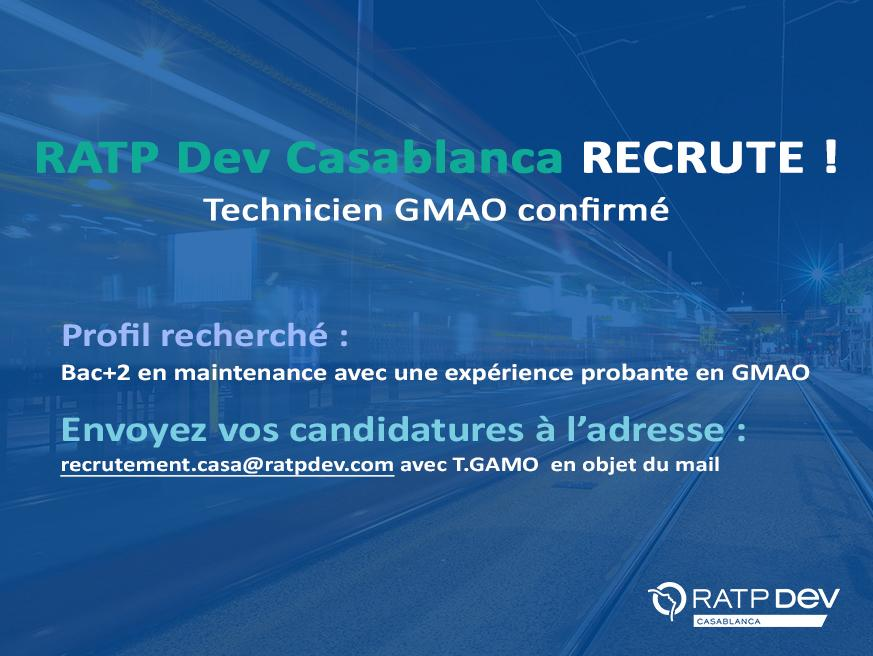 Casa Tramway recrute des Techniciens Maintenance et des Techniciens GMAO