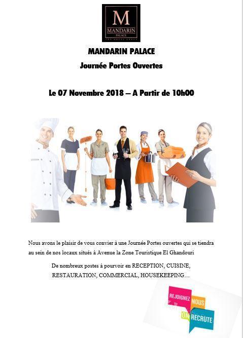 Mandarin Palace Tanger organise une journée de recrutement le 7 Novembre 2018
