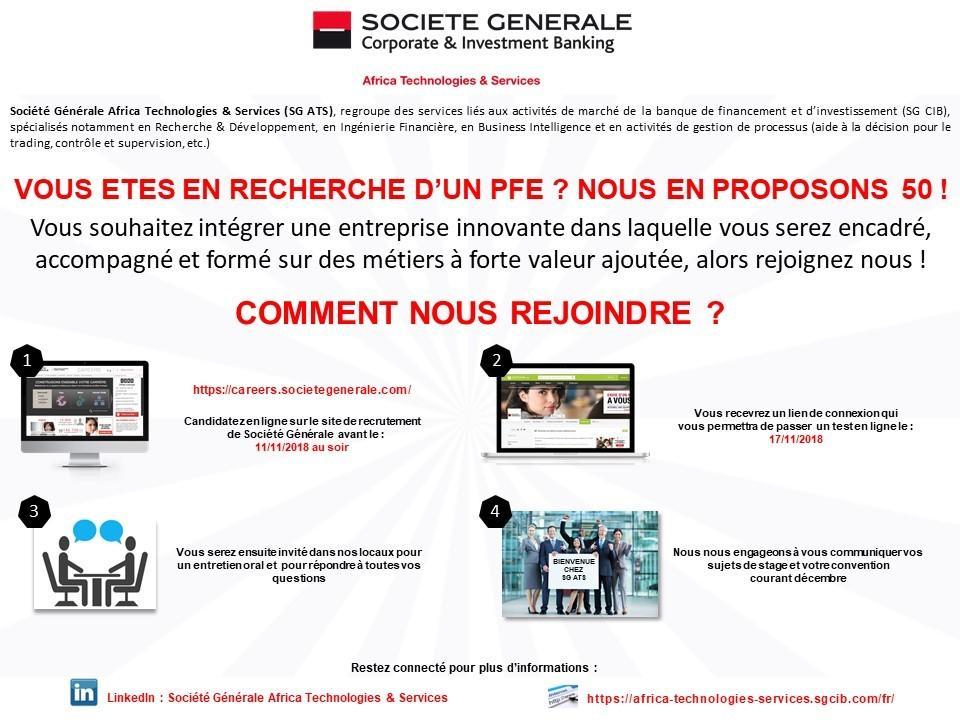 Société Générale offre 50 Stages PFE