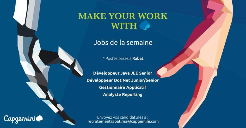 Capgemini lance le recrutement de plusieurs profils en Informatique sur les villes de Casablanca et Rabat