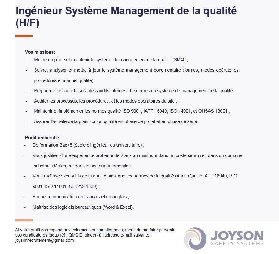 Recrutement chez Joyson Safety Systems (Ingénieur Qualité - Ingénieur Process - Technicien Laboratoire - Stagiaire Qualité)
