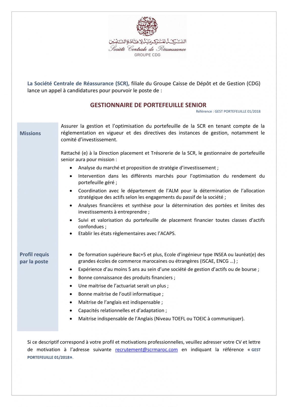 Société Centrale de Réassurance recrute 5 Profils (Casablanca)