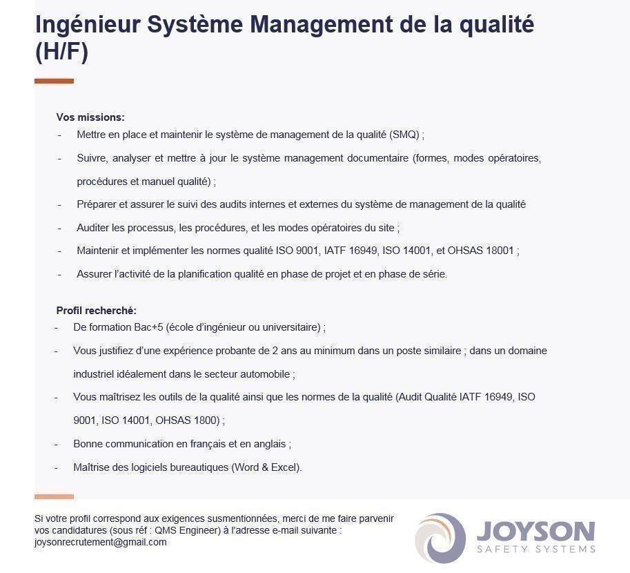 Joyson Safety Systems recrute un Production Shift Leader et un Ingénieur Système Management Qualité