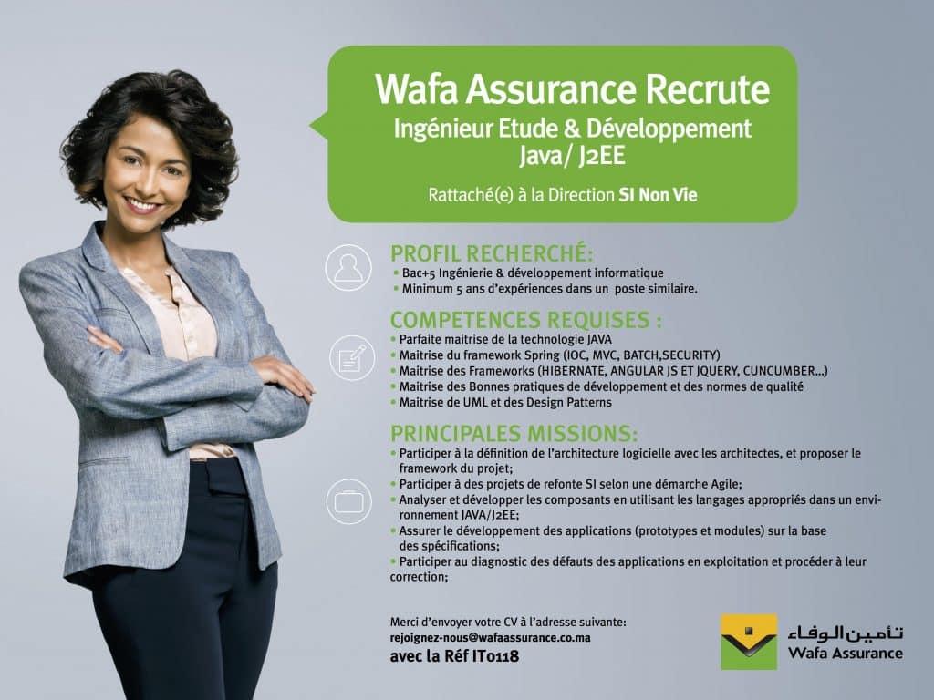 Wafa Assurance recrute un Architecte SI, un Chef de Projet BI et un Ingénieur Java
