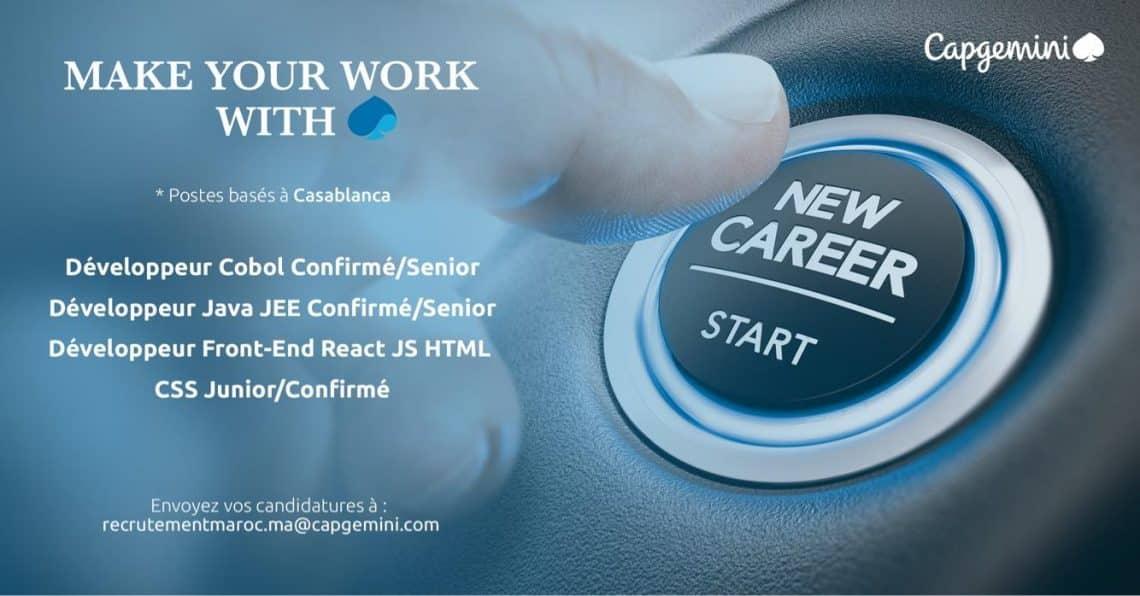Recrutement de Plusieurs Profils Jeunes Diplômés en Informatique, Développeurs, Administrateurs, Ingénieurs chez Capgemini