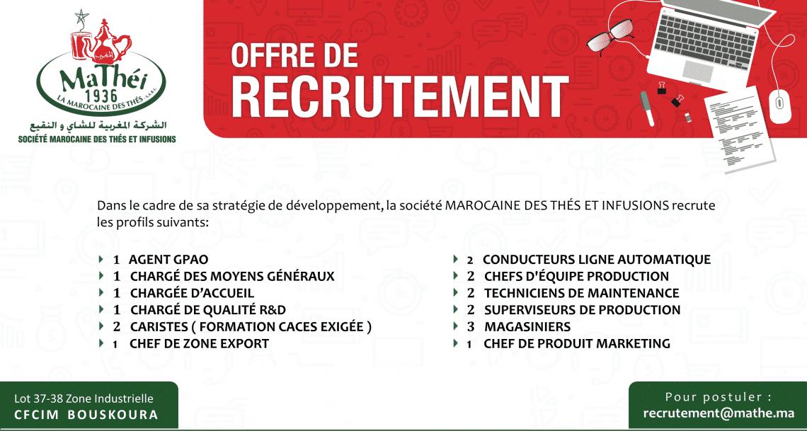 Recrutement chez la Société Marocaine des Thés et Infusions (19 Postes)