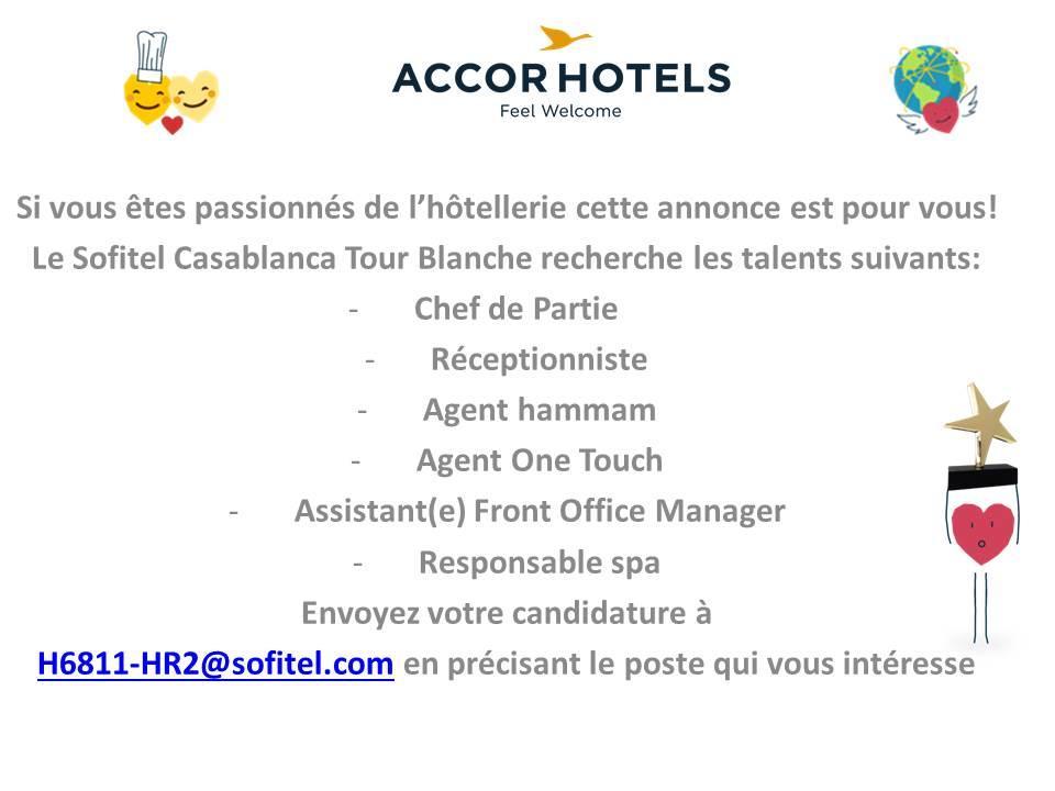 Sofitel Casablanca Tour Blanche recrute 6 Profils