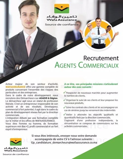 Wafa Assurance recrute des Agents Commerciaux