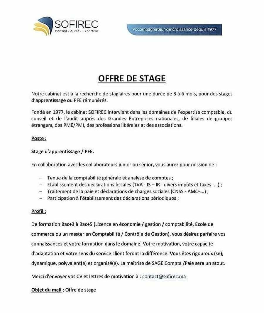 23 Offres De Stages Pfe Rémunérés Et Pré Embauche N 103