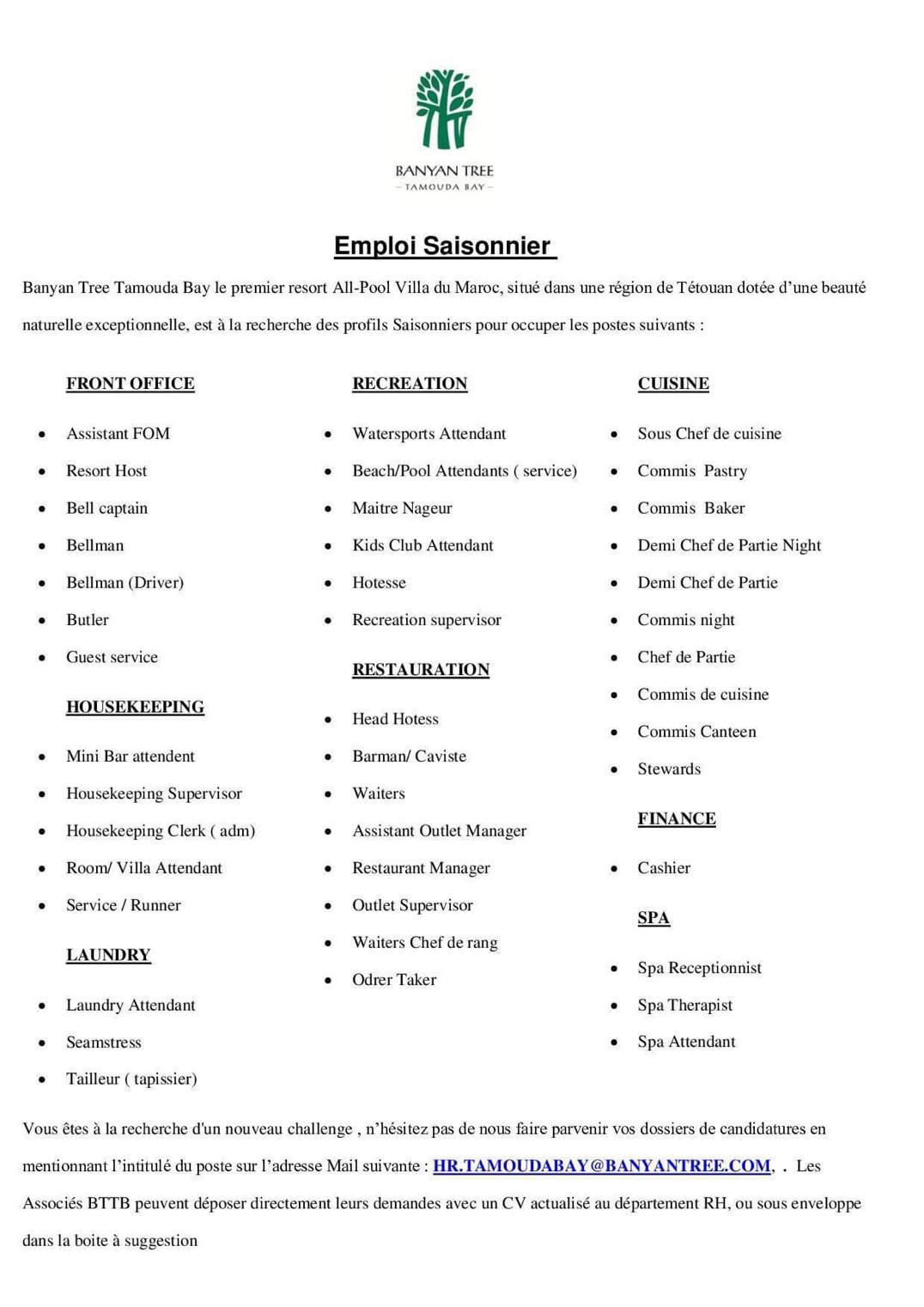 campagne de recrutement banyan tree  43 profils
