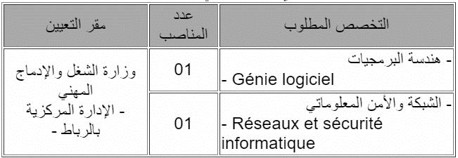 Emploi 3 Concours Ministère du Travail et de l'Insertion Professionnelle (6 Postes)