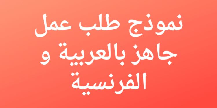 نموذج طلب عمل جاهز بالعربية و الفرنسية