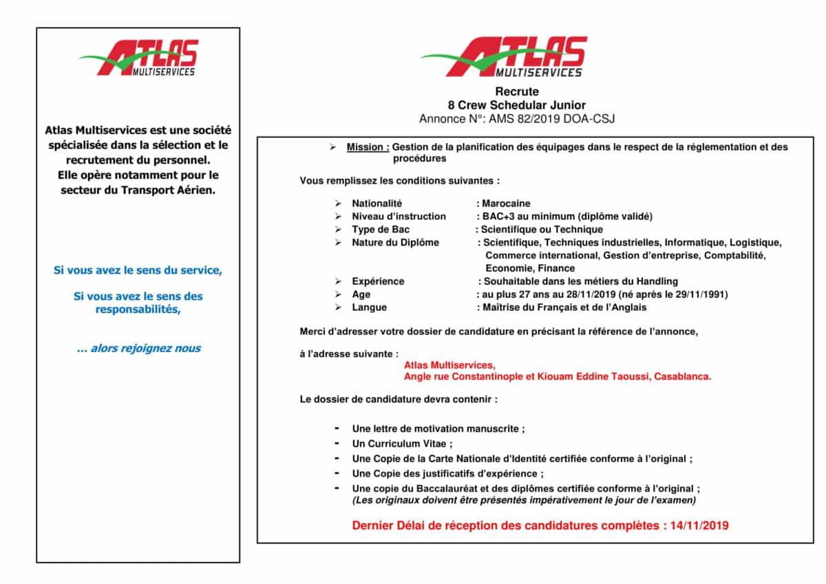 AnnonceCrewSchedularJuniorOctobre2019 1 Atlas Multiservices recrute 8 Crew Schedulers Juniors