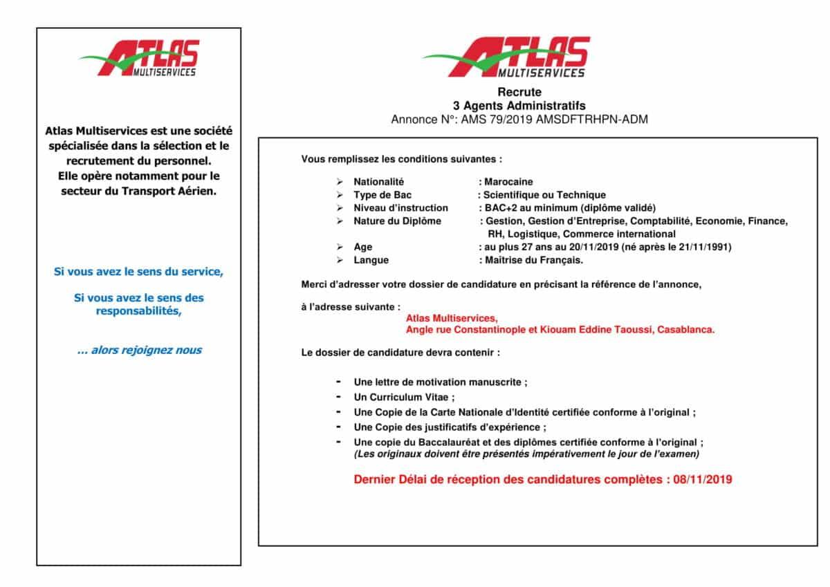 AnnonceAgentadministratifOctobre2019 1 Atlas Multiservices recrute des Agents Administratifs
