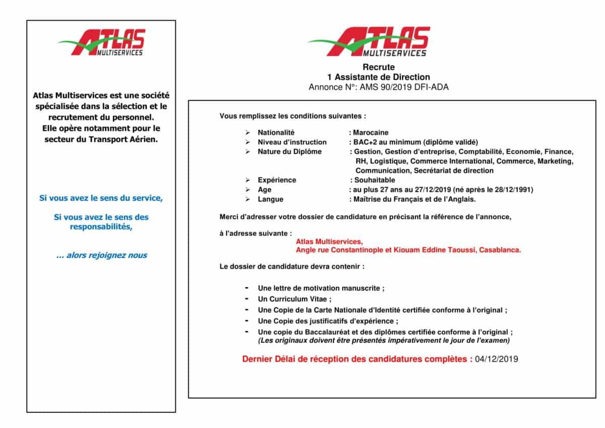 AnnonceAssistantededirectionNovembre2019 1 Atlas Multiservices recrute une Assistante de Direction