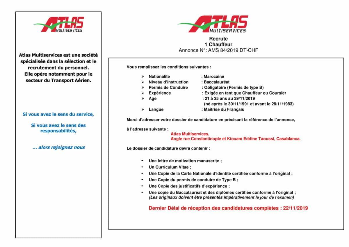 AnnonceChauffeurNovembre2019 1 Atlas Multiservices recrute un Chauffeur