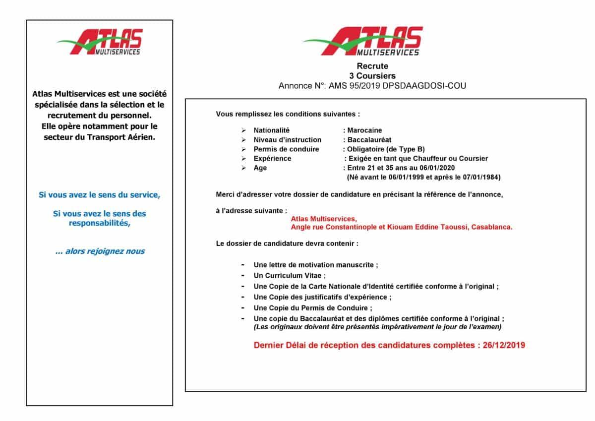 0001 2 Atlas Multiservices recrute des Coursiers