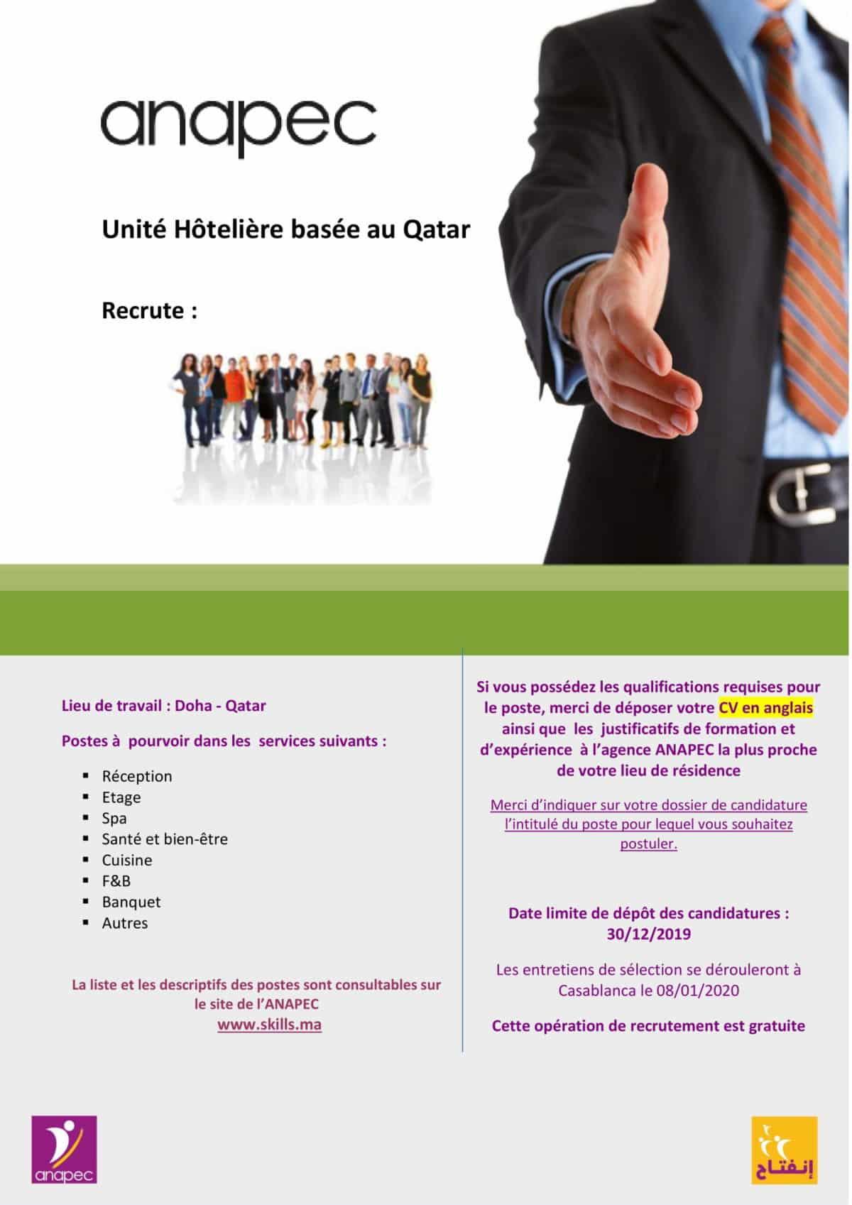 zulal1 1 Anapec Skills: 104 Postes à Pourvoir pour une Unité Hôtelière basée au Qatar