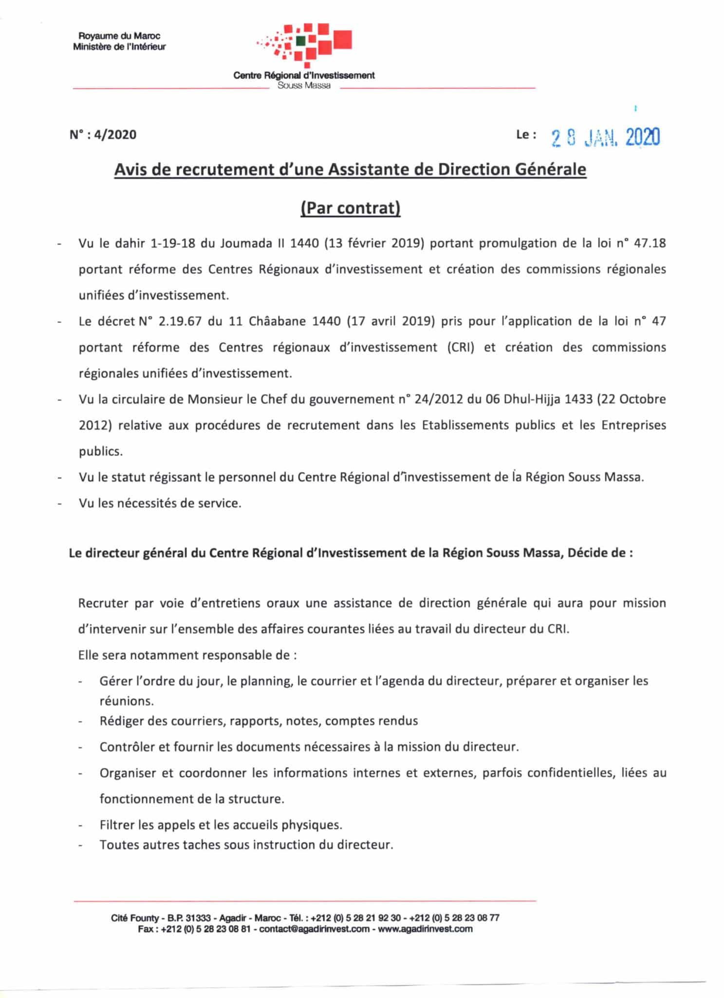 Assistantededirection14 1 scaled Centre Régional d'Investissement Souss Massa recrute Assistante de Direction Générale