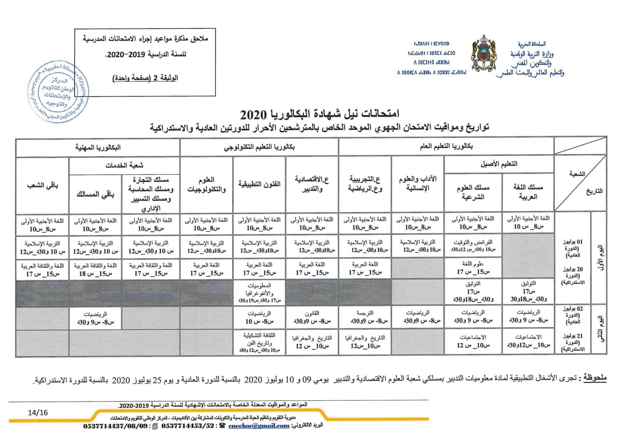 تاريخ اجتياز الامتحان الوطني والجهوي الأحرار 2020