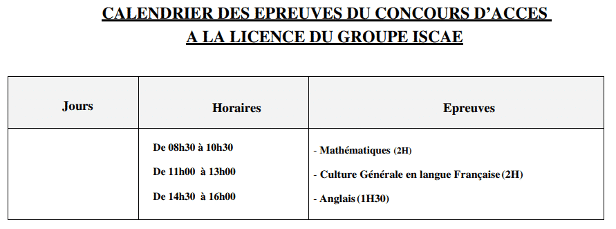calendrier_concours_ISCAE_Licen