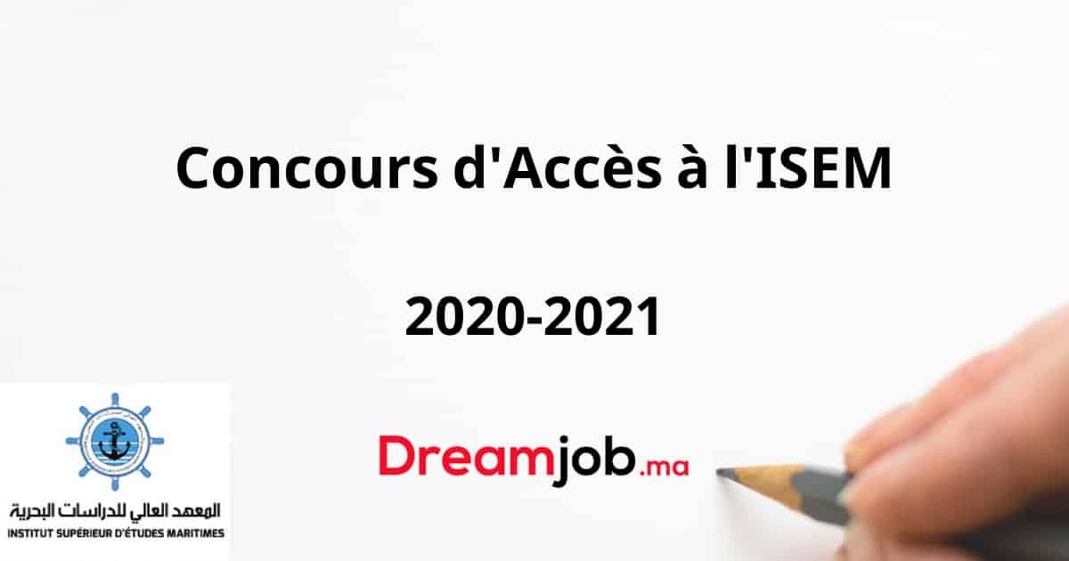 Concours d'Accès à l'ISEM 2020 2021   DREAMJOB.MA