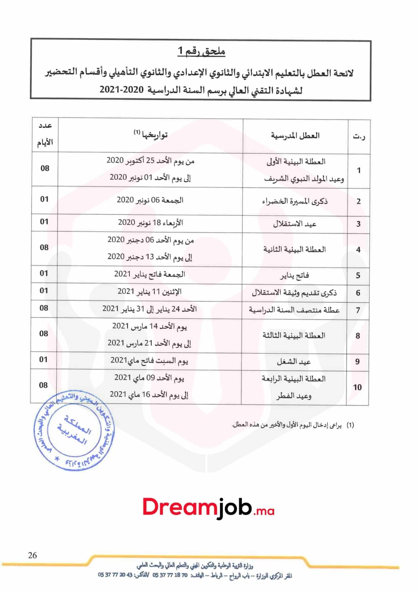 Calendrier des Vacances Scolaires au Maroc 2020-2021
