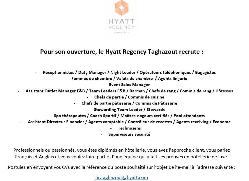 Hyatt Regency Taghazout recrute plusieurs profils