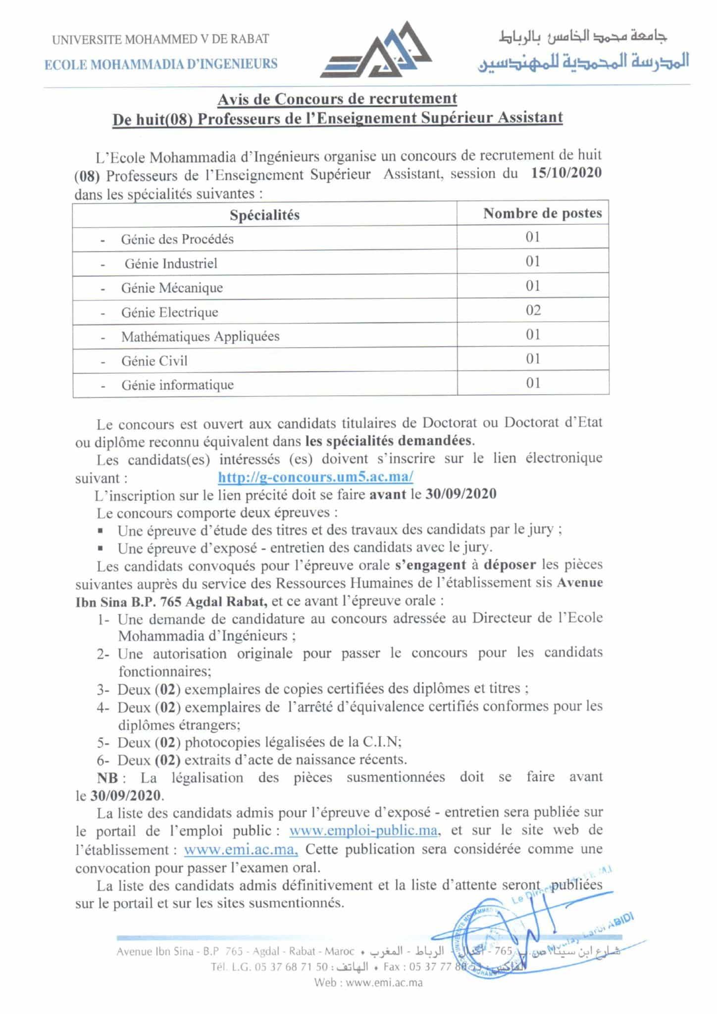 Avis de concours de recrutement de PA Session du 15 10 2020 1 scaled Concours Ecole Mohammadia d'Ingénieurs (8 Postes)