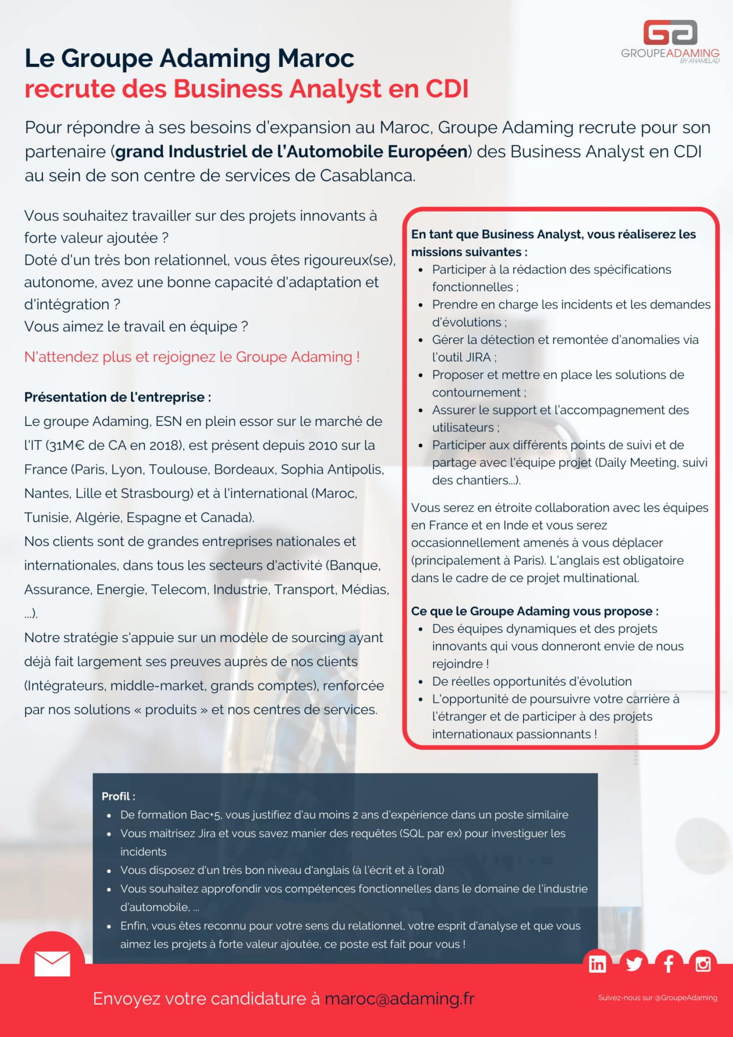 Groupe Adaming recrute des Business Analysts