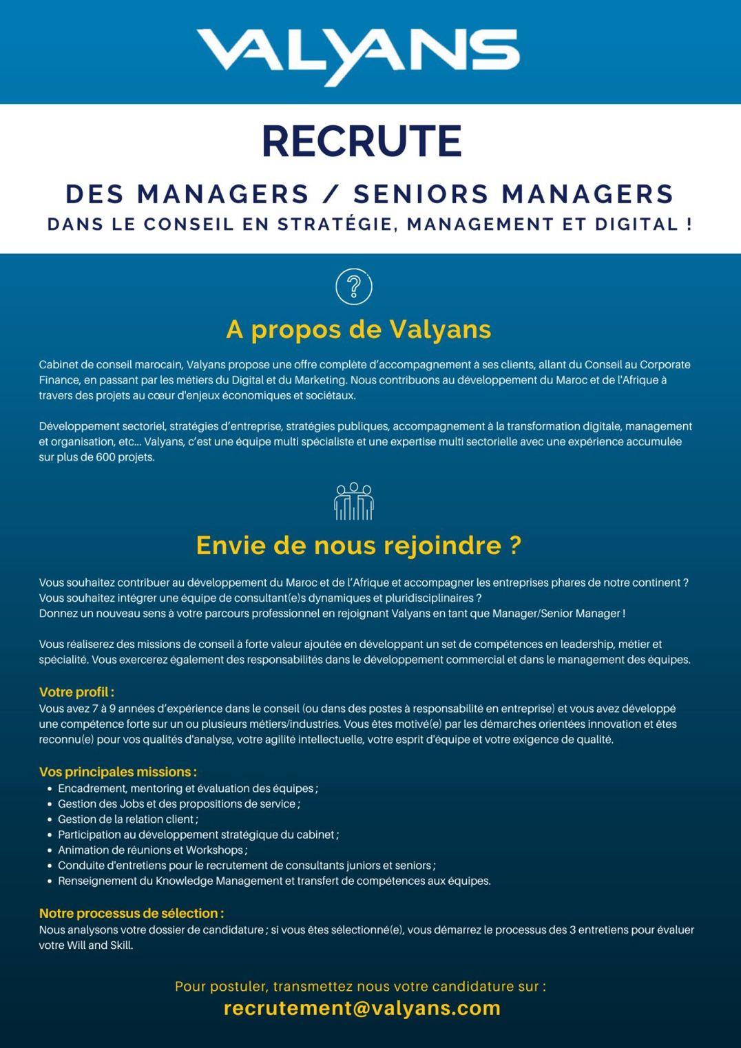 1610616037192 Valyans Consulting recrute des Managers et des Consultants