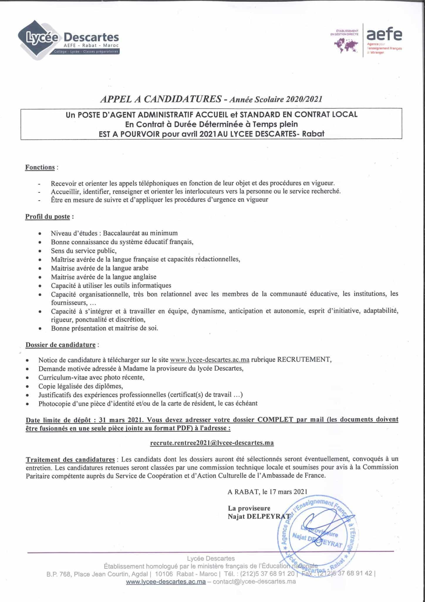Appelacandidaturesagentadministratif 1 scaled Lycée Descartes recrute Plusieurs Profils