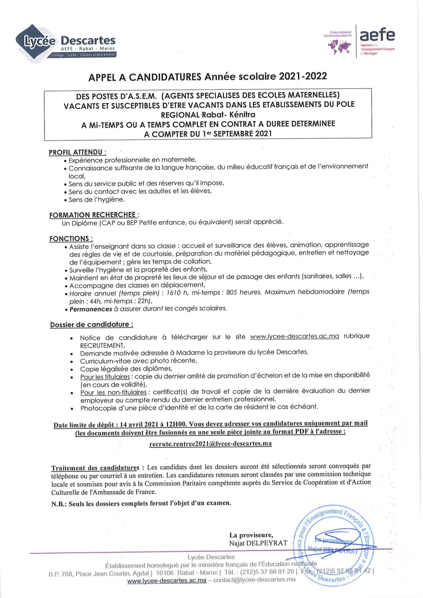 agentsspecialisesecolesmaternelles 1 scaled Lycée Descartes recrute Plusieurs Profils