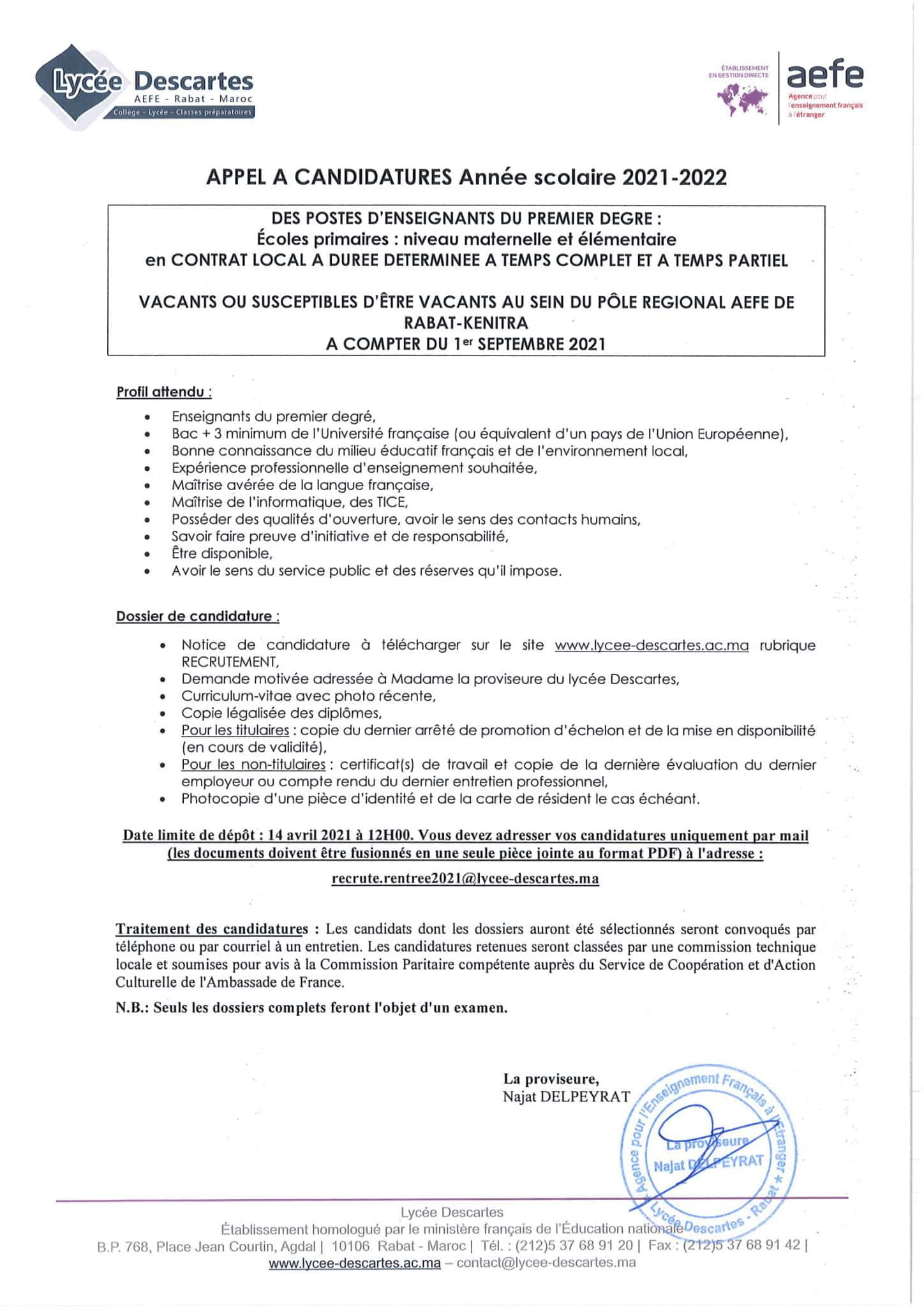 enseignants1erdegrecontratlocal 1 scaled Lycée Descartes recrute Plusieurs Profils