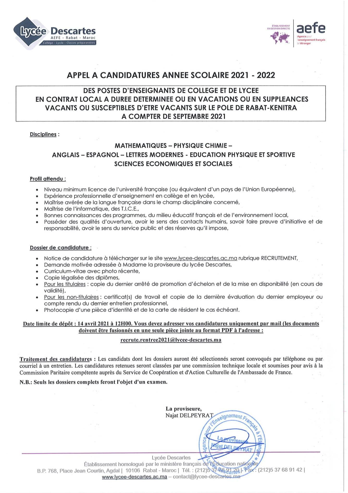enseignantscollegeetlyceecontratlocal 1 scaled Lycée Descartes recrute Plusieurs Profils