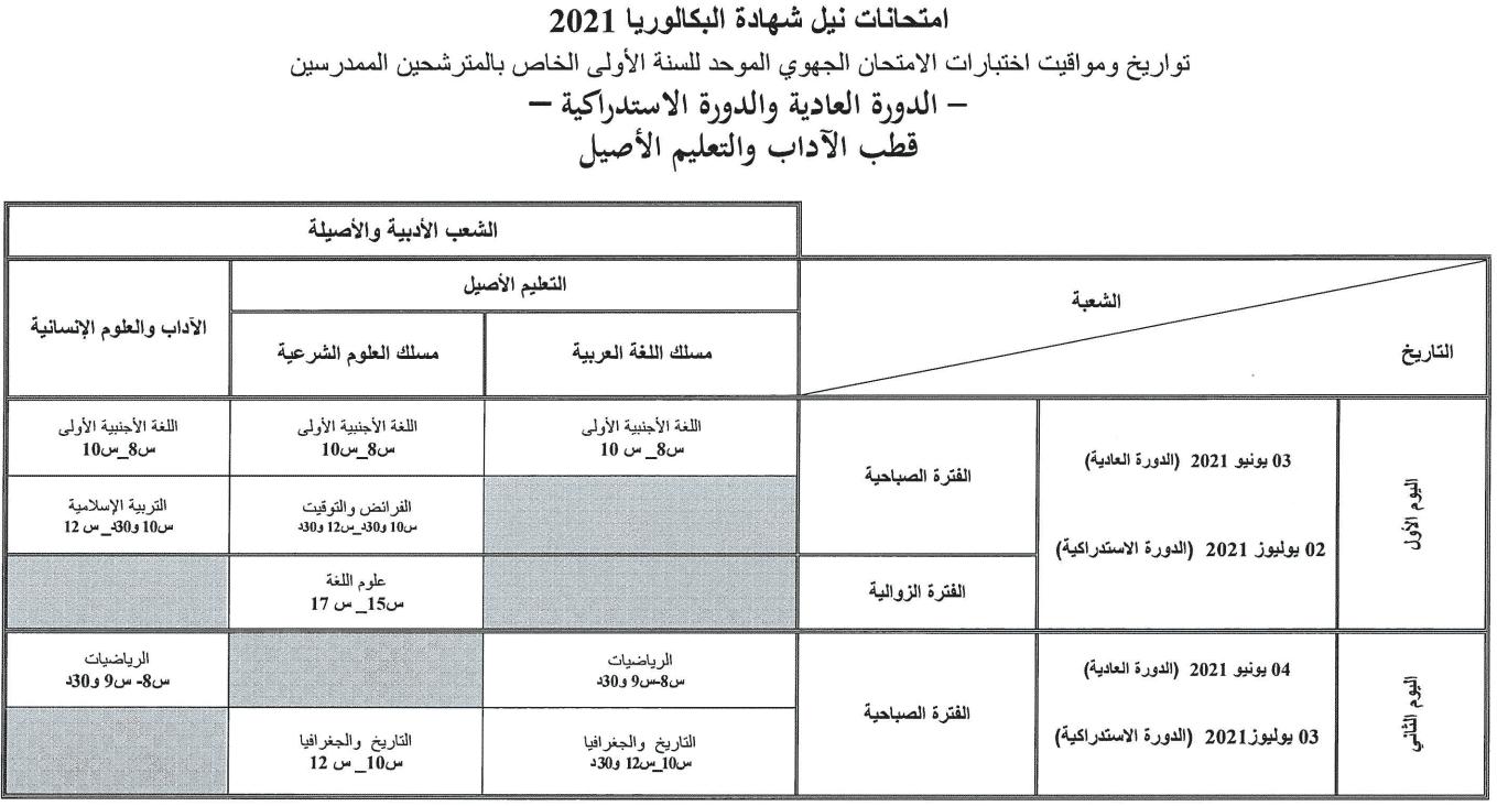 2 1 تاريخ اجتياز الامتحان الوطني والجهوي 2021